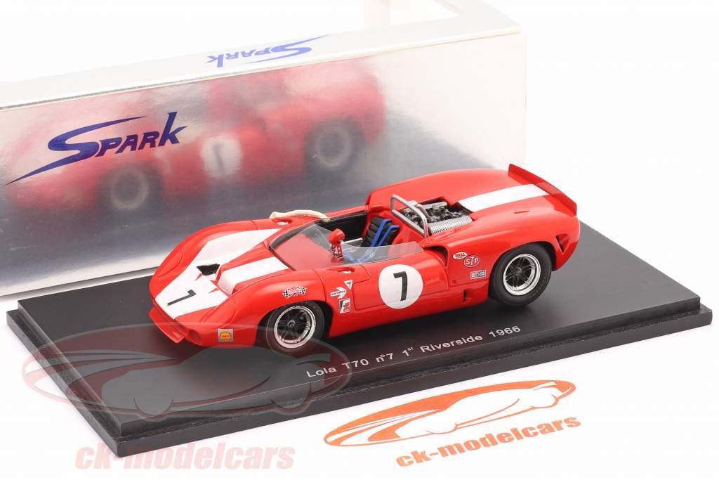 Lola T70 #7 Gagnant Can-Am Riverside 1966 John Surtees 1:43 Spark