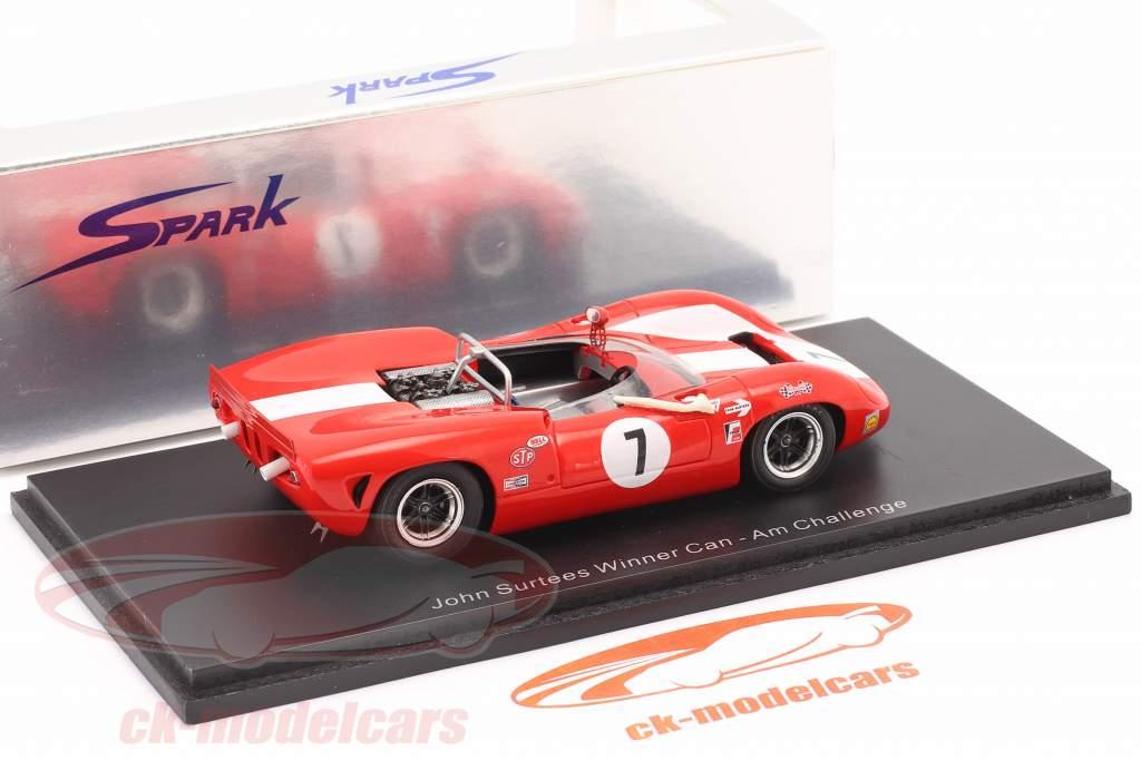Lola T70 #7 Ganador Can-Am Riverside 1966 John Surtees 1:43 Spark