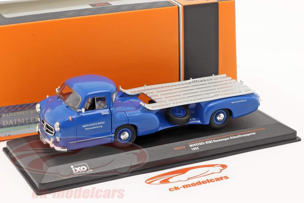Mercedes-Benz Race Car Transporter De blauw zich afvragen bouwjaar 1955 blauw 1:43 Ixo