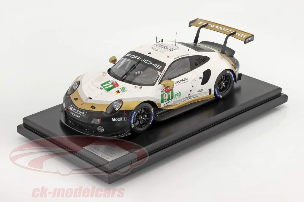 Porsche 911 RSR #91 Campeón mundial de la marca 24h LeMans 2019 con Escaparate 1:12 Spark