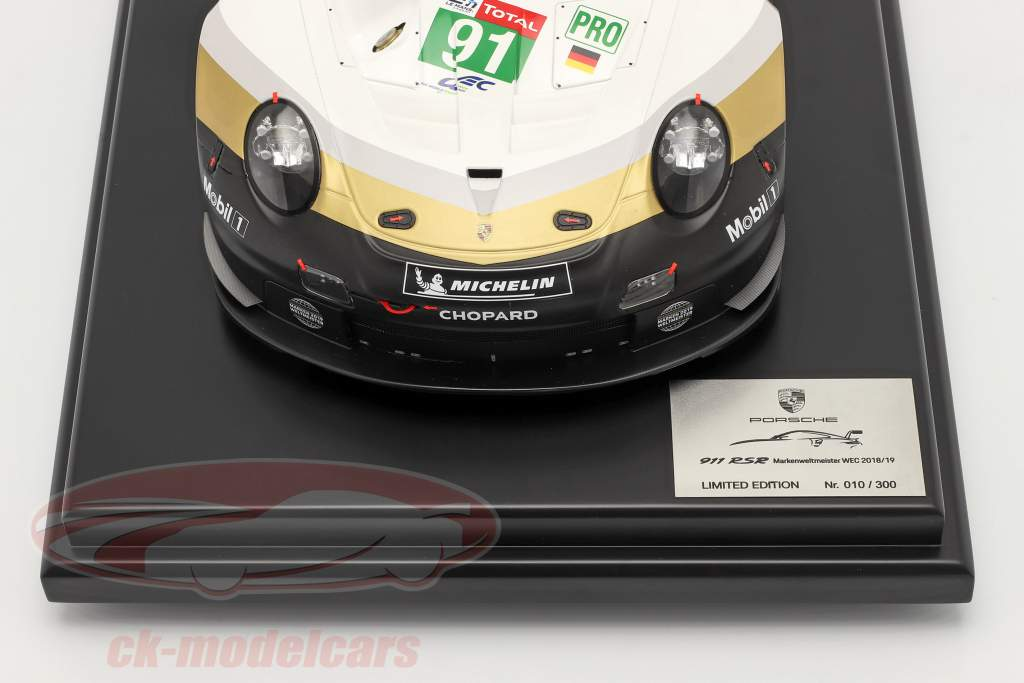Porsche 911 RSR #91 Campione del mondo del marchio 24h LeMans 2019 con vetrina 1:12 Spark