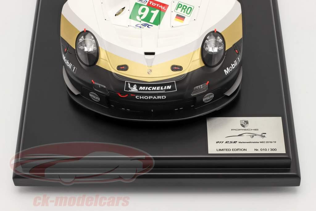 Porsche 911 RSR #91 Markenweltmeister 24h LeMans 2019 mit Vitrine 1:12 Spark