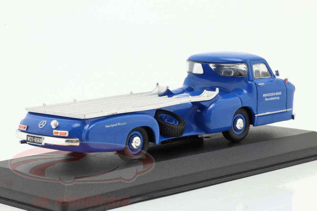 Mercedes-Benz Race Car Transporter Det blå spekulerer Byggeår 1955 blå 1:43 Ixo
