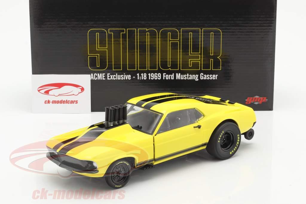 Ford Mustang Gasser Stinger 1969 gul / sort 1:18 GMP