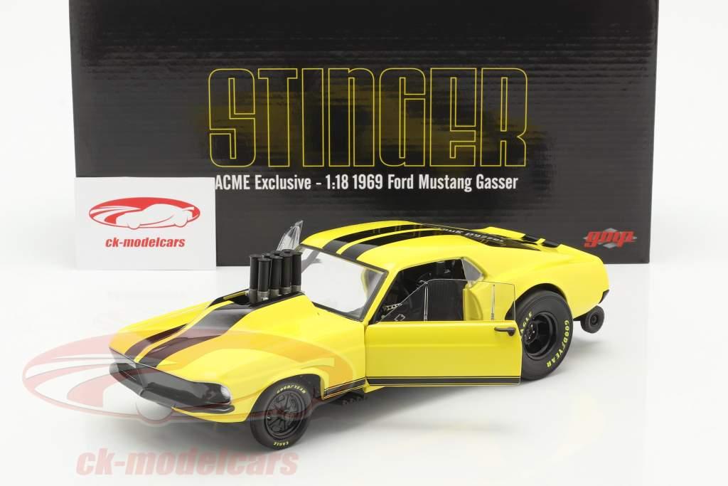 Ford Mustang Gasser Stinger 1969 giallo / nero 1:18 GMP