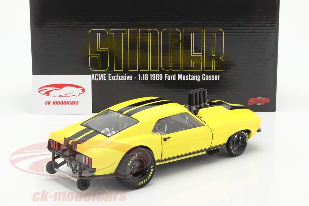 Ford Mustang Gasser Stinger 1969 geel / zwart 1:18 GMP