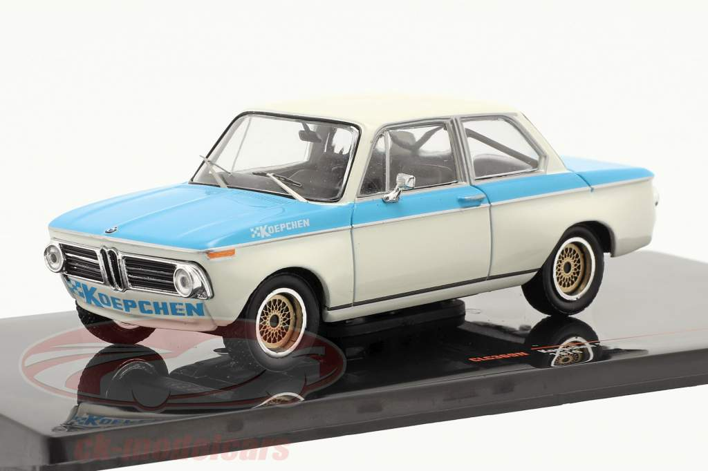 BMW Koepchen 2002 Tii Ano de construção 1974 Branco / azul 1:43 Ixo