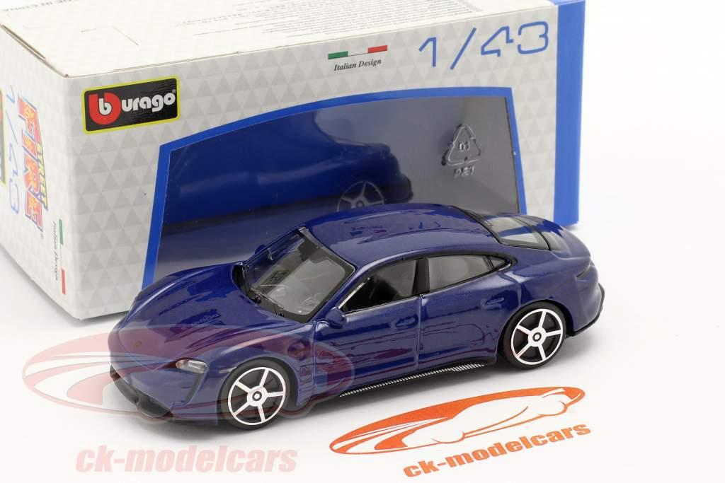 Porsche Taycan Turbo S year 2019 dark blue 1:43 Bburago