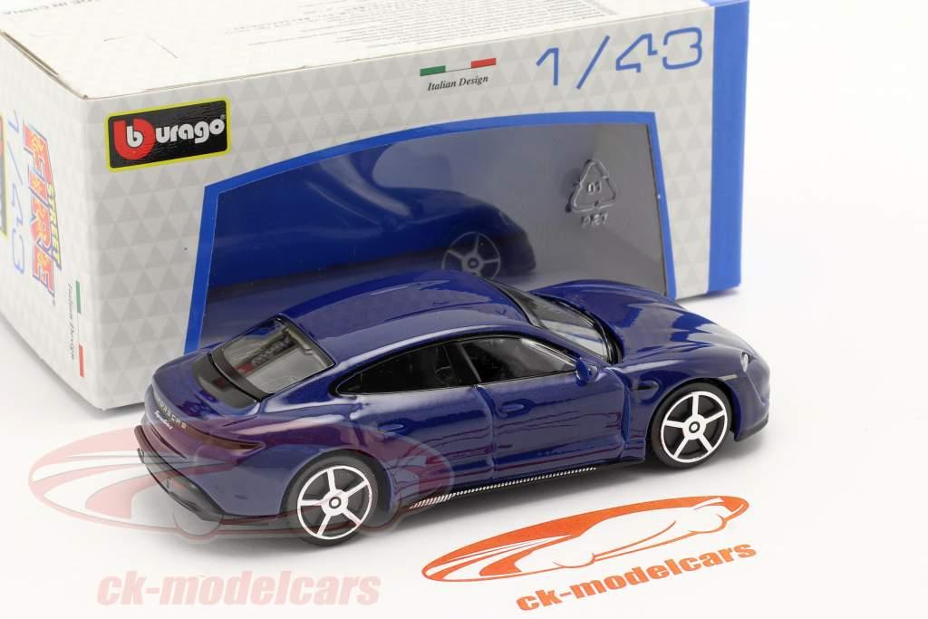 Porsche Taycan Turbo S Année de construction 2019 bleu foncé 1:43 Bburago
