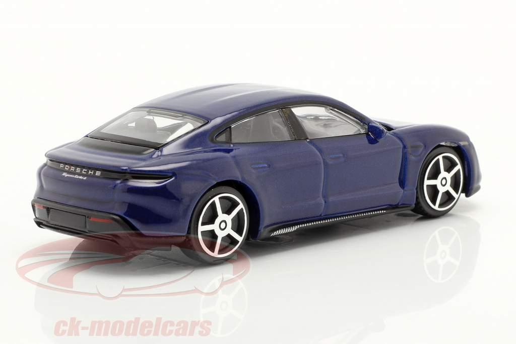 Porsche Taycan Turbo S Byggeår 2019 mørkeblå 1:43 Bburago