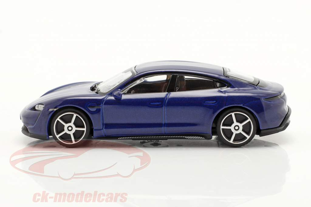 Porsche Taycan Turbo S Año de construcción 2019 azul oscuro 1:43 Bburago