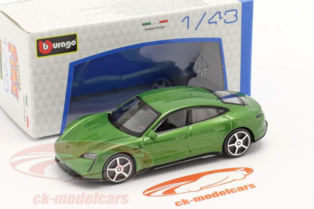 Porsche Taycan Turbo S Byggeår 2019 grøn metallisk 1:43 Bburago