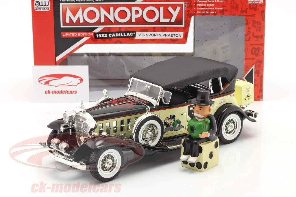 Cadillac V16 Sport Phaeton year 1932 with Mr. monopoly figure 1:18 AutoWorld