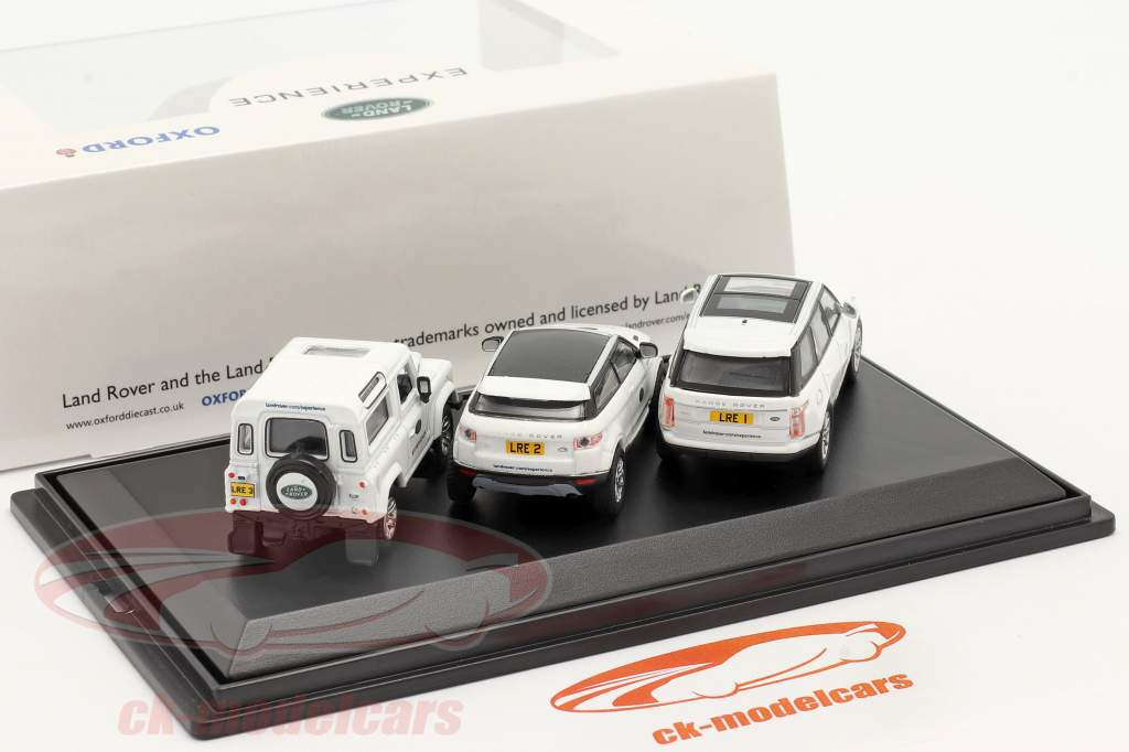 3-Car Set Land Rover Experience white 1:76 Oxford