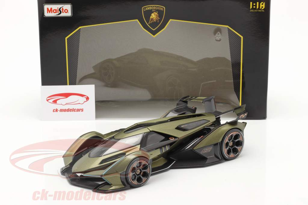 Lamborghini V12 Vision GT olive green / black 1:18 Maisto