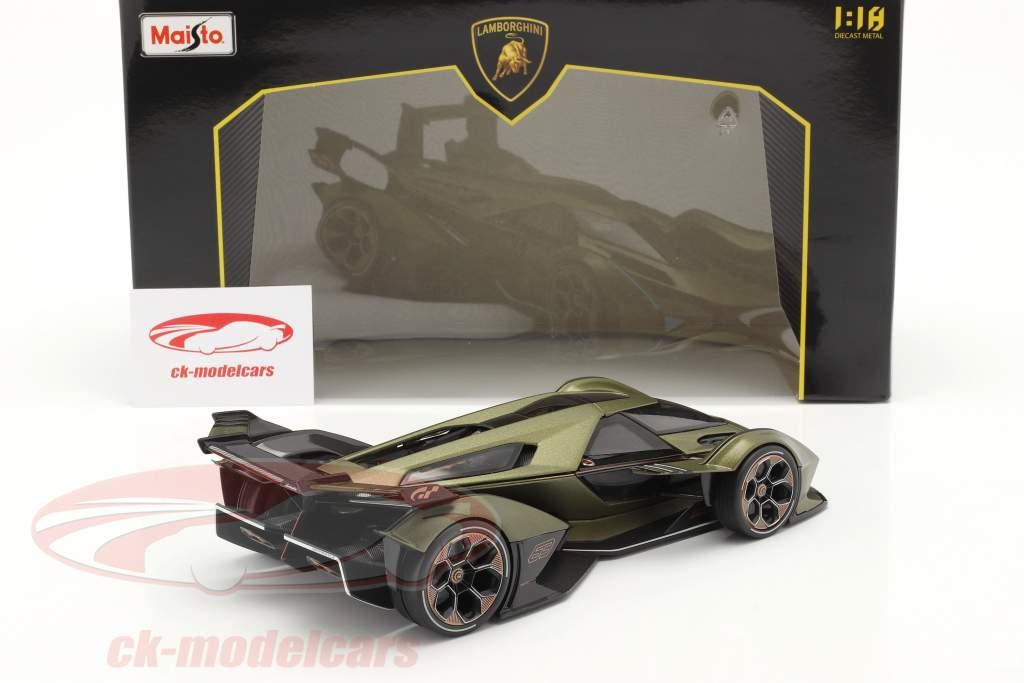 Lamborghini V12 Vision GT aceituna verde / negro 1:18 Maisto