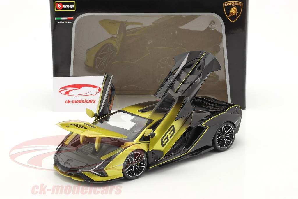 Lamborghini Sian FKP 37 #63 黄 / 黒 1:18 Bburago