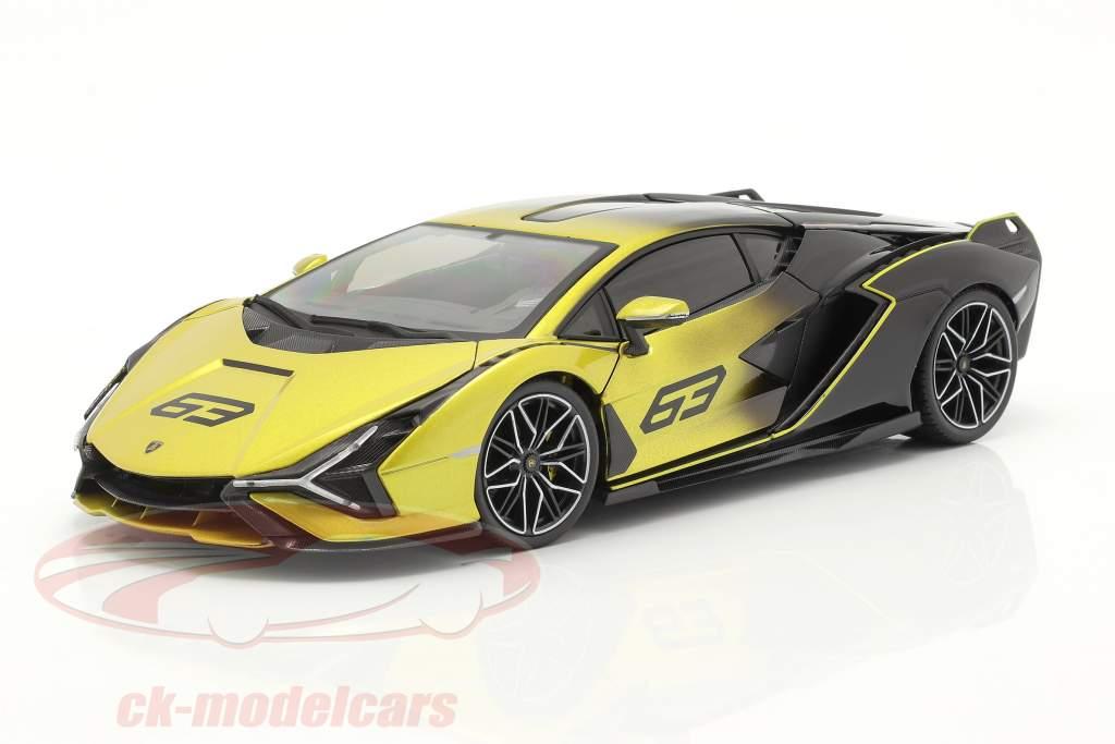Lamborghini Sian FKP 37 #63 geel / zwart 1:18 Bburago