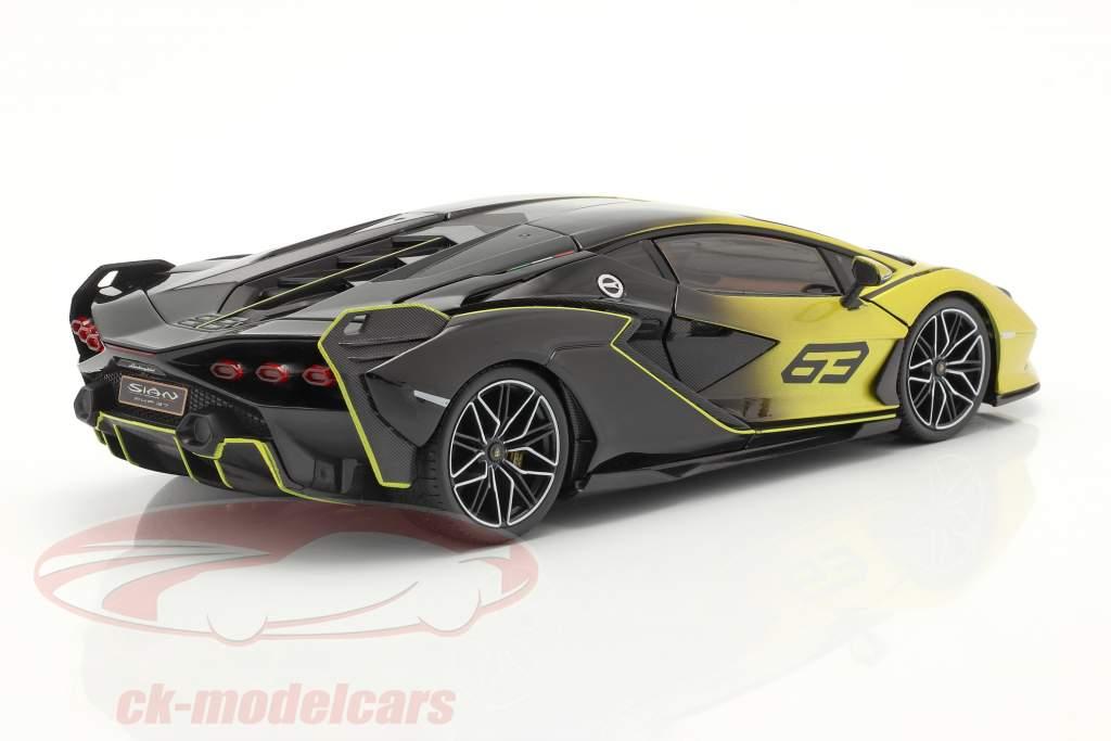 Lamborghini Sian FKP 37 #63 amarillo / negro 1:18 Bburago