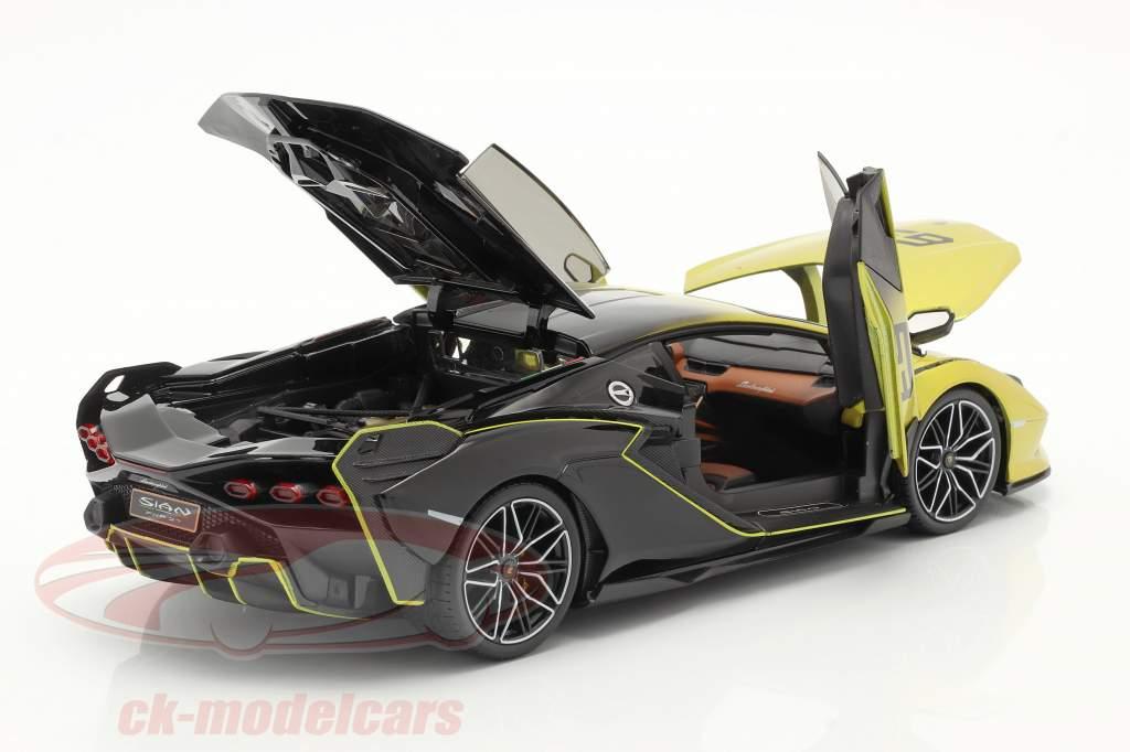 Lamborghini Sian FKP 37 #63 amarelo / Preto 1:18 Bburago