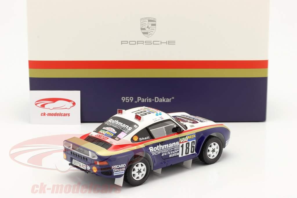 Porsche 959 #186 gagnant Rallye Paris - Dakar 1986 Avec Vitrine 1:18 Spark