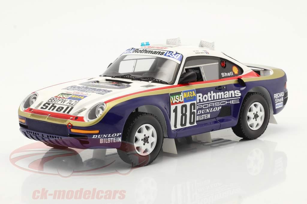 Porsche 959 #186 winnaar Rallye Paris - Dakar 1986 Met Showcase 1:18 Spark