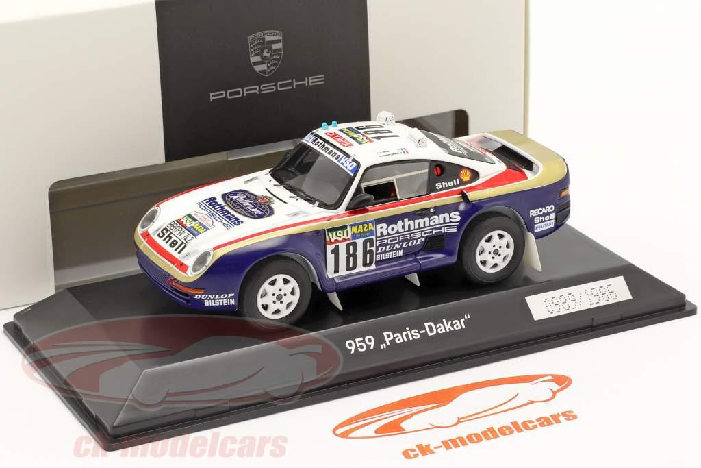 Porsche 959 #186 winnaar Rallye Paris - Dakar 1986 Metge, Lemoyne 1:43 Spark