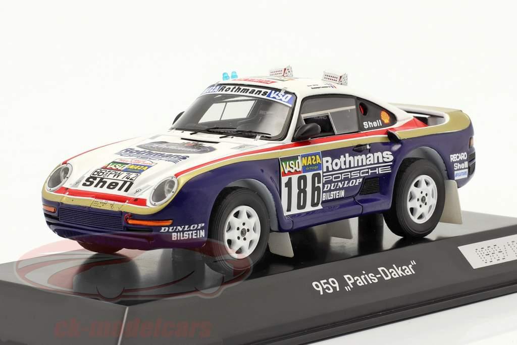 Porsche 959 #186 vencedora Rallye Paris - Dakar 1986 Metge, Lemoyne 1:43 Spark