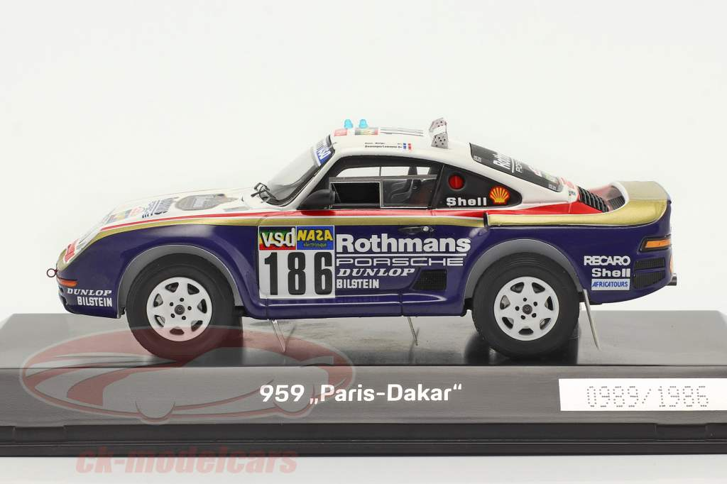 Porsche 959 #186 vinder Rallye Paris - Dakar 1986 Metge, Lemoyne 1:43 Spark