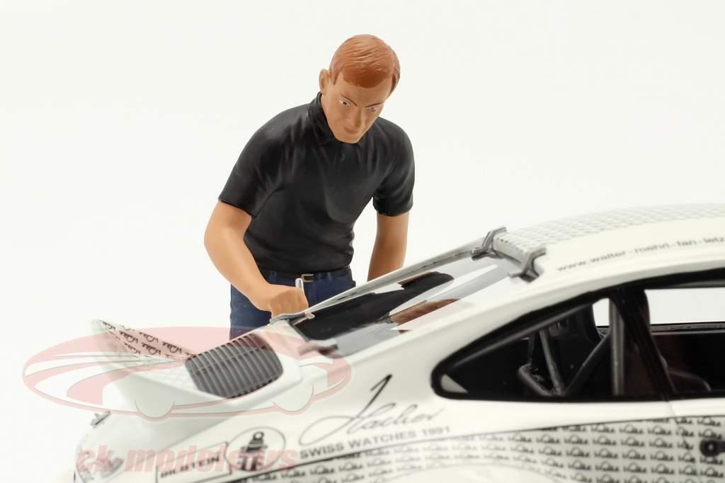 Porsche 911 Walter Röhrl x911 mit Figur weiß / schwarz 1:18 Schuco