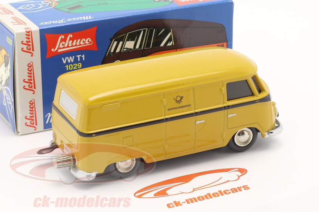 Micro Racer Volkswagen VW T1 Van de caixa alemão Federal Post amarelo 1:40 Schuco