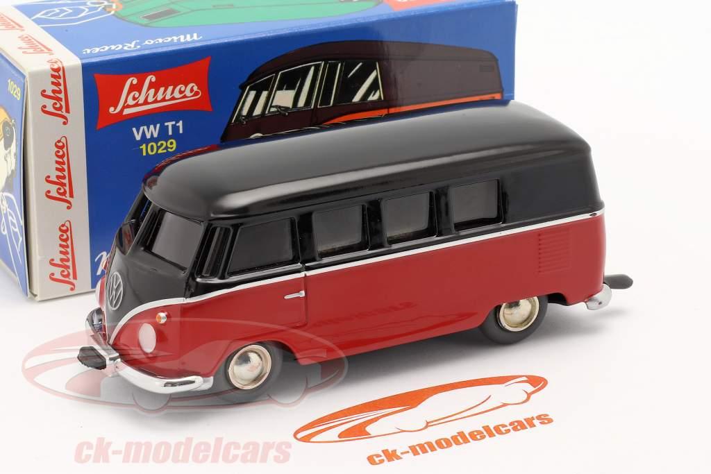 Micro Racer Volkswagen VW T1 Bestelwagen zwart / rood 1:40 Schuco