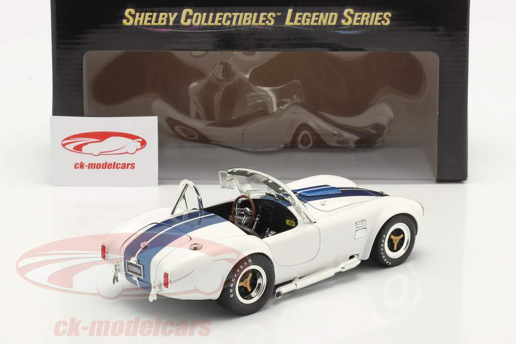 Shelby Cobra 427 S/C Byggeår 1965 hvid / blå 1:18 ShelbyCollectibles