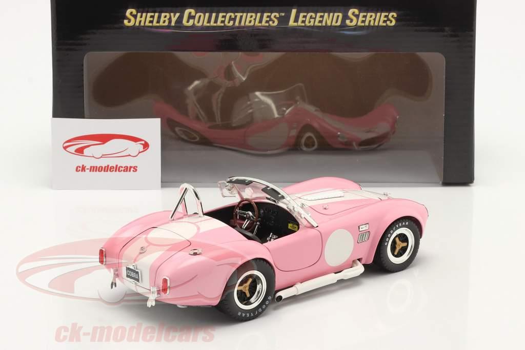 Shelby Cobra 427 S/C bouwjaar 1965 roze / Wit 1:18 ShelbyCollectibles
