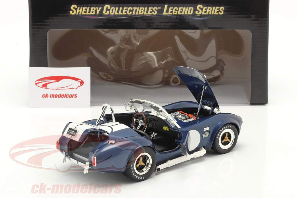 Shelby Cobra 427 S/C bouwjaar 1965 blauw / Wit 1:18 ShelbyCollectibles