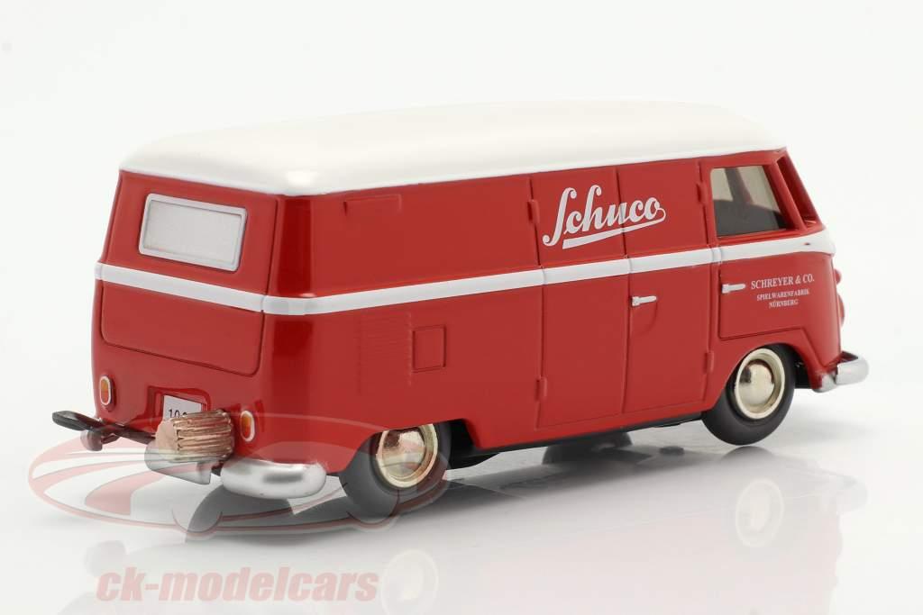 Micro Racer Volkswagen VW T1 Van de caixa Schuco vermelho / Branco 1:40 Schuco