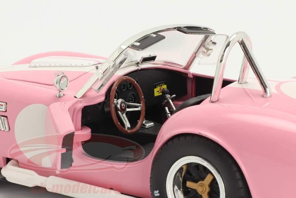 Shelby Cobra 427 S/C Byggeår 1965 lyserød / hvid 1:18 ShelbyCollectibles