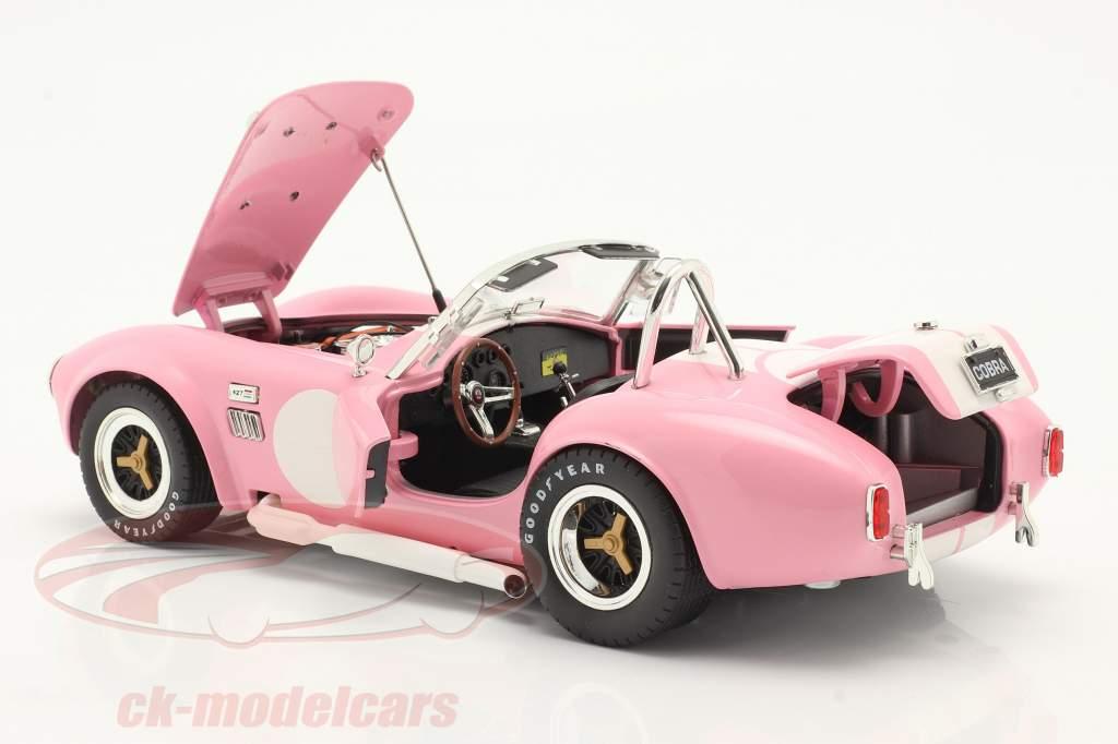 Shelby Cobra 427 S/C Année de construction 1965 rose / blanc 1:18 ShelbyCollectibles