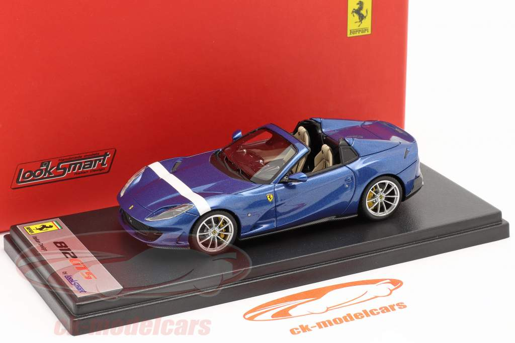 Ferrari 812 GTS Spider Byggeår 2019 blå metallisk / hvid 1:43 LookSmart