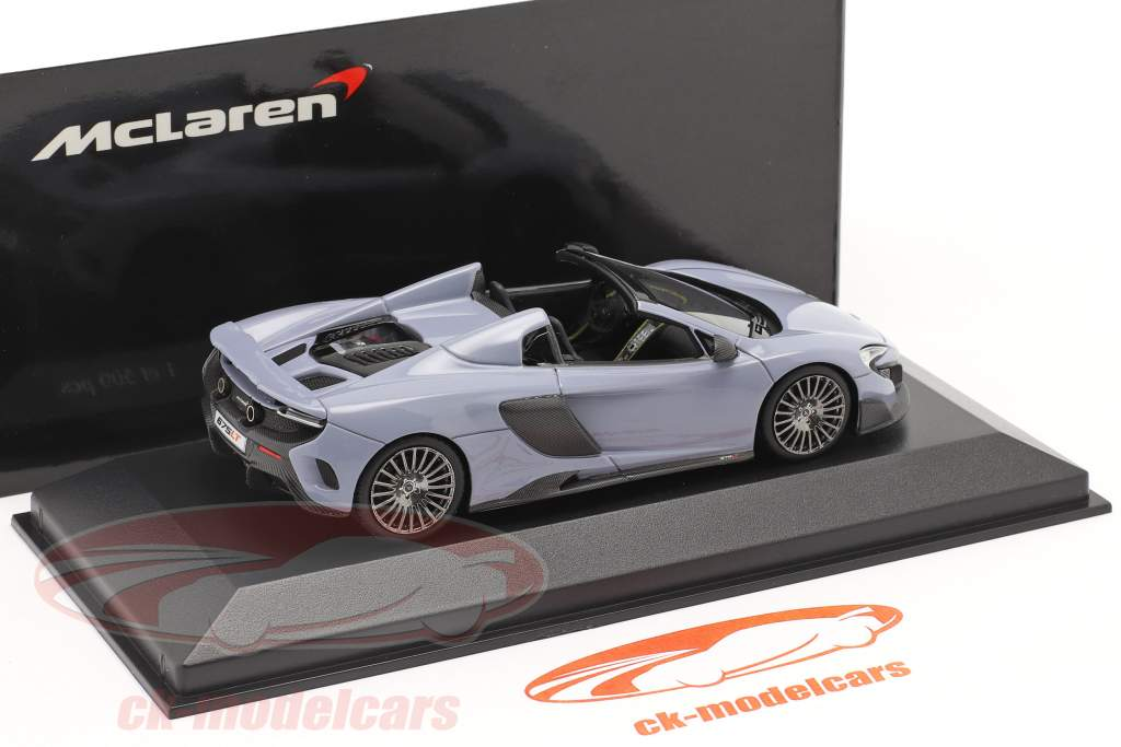 McLaren 675LT Spider Anno di costruzione 2016 grigio ceramica 1:43 Minichamps / 2. scelta