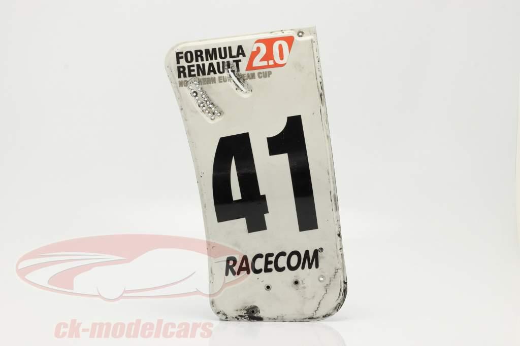 original Asa traseira Placa final #41 Fórmula Renault 2.0 / ca. 24 x 52 cm