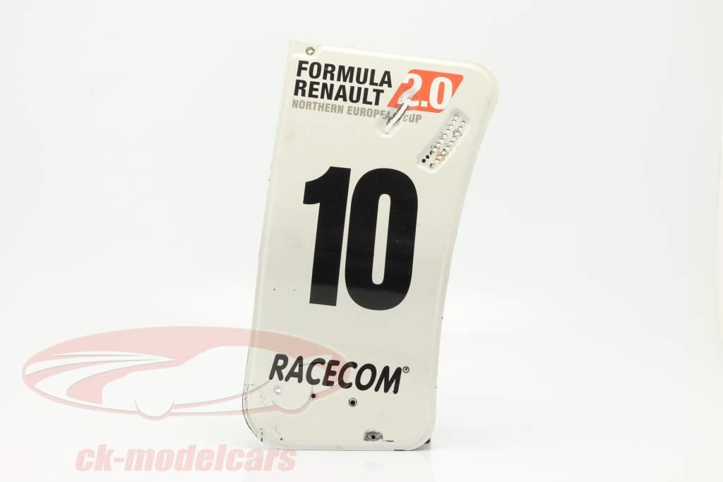 original Ala trasera Placa final #10 fórmula Renault 2.0 / ca. 24 x 52 cm