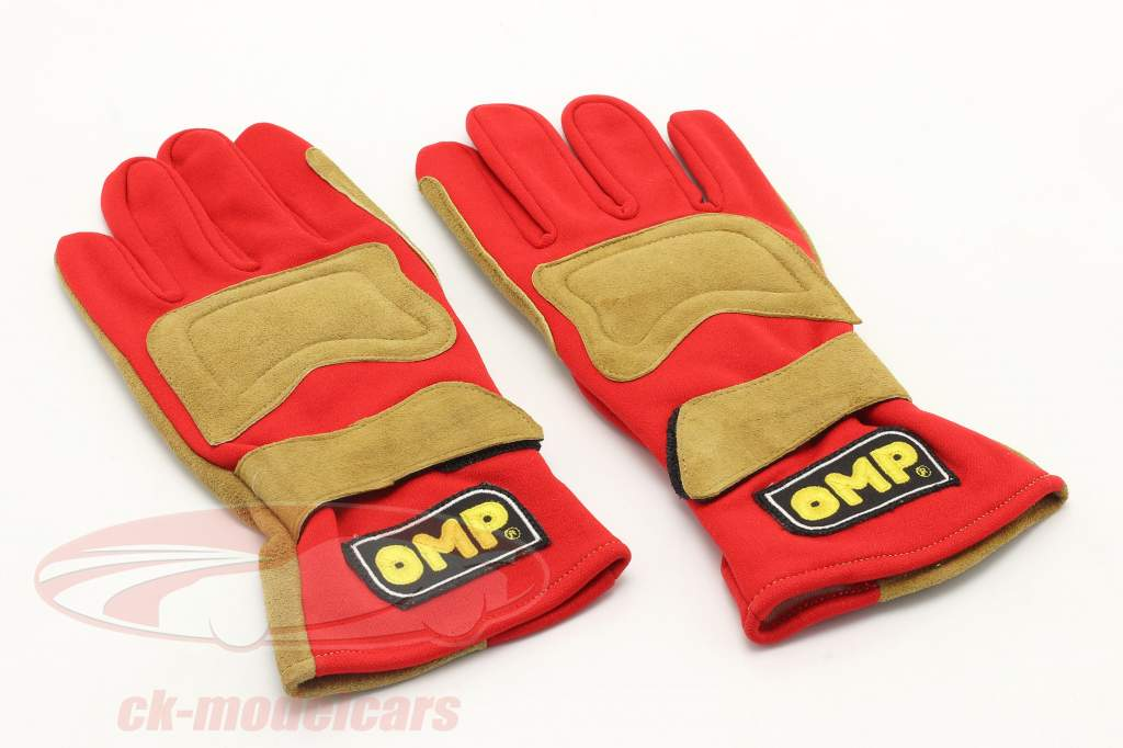 1 Paar Motorsport-Handschuhe / Fahrer-Handschuhe Größe L rot / hellbraun OMP