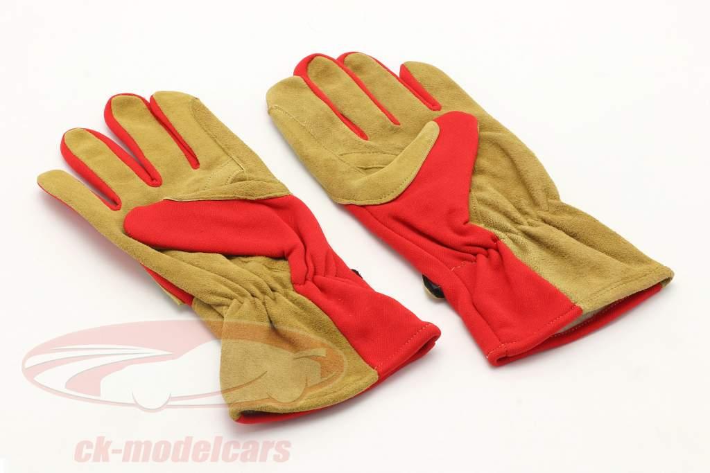 1 Par Motorsport handsker / Driverhandsker størrelse L rød / lysebrun OMP