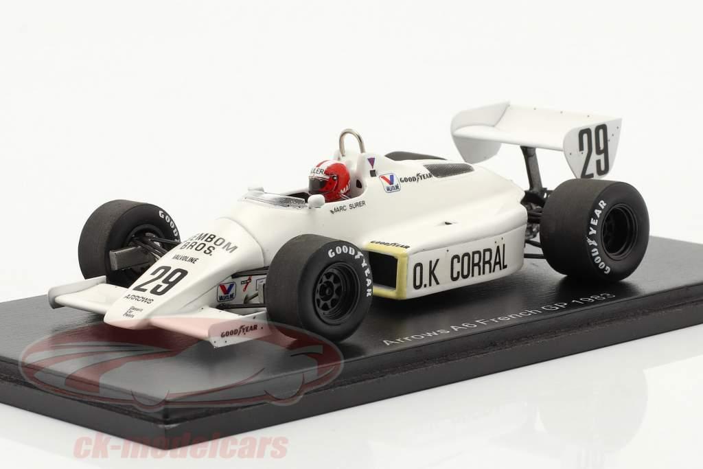 Marc Surer Arrows A6 #29 francés GP fórmula 1 1983 1:43 Spark
