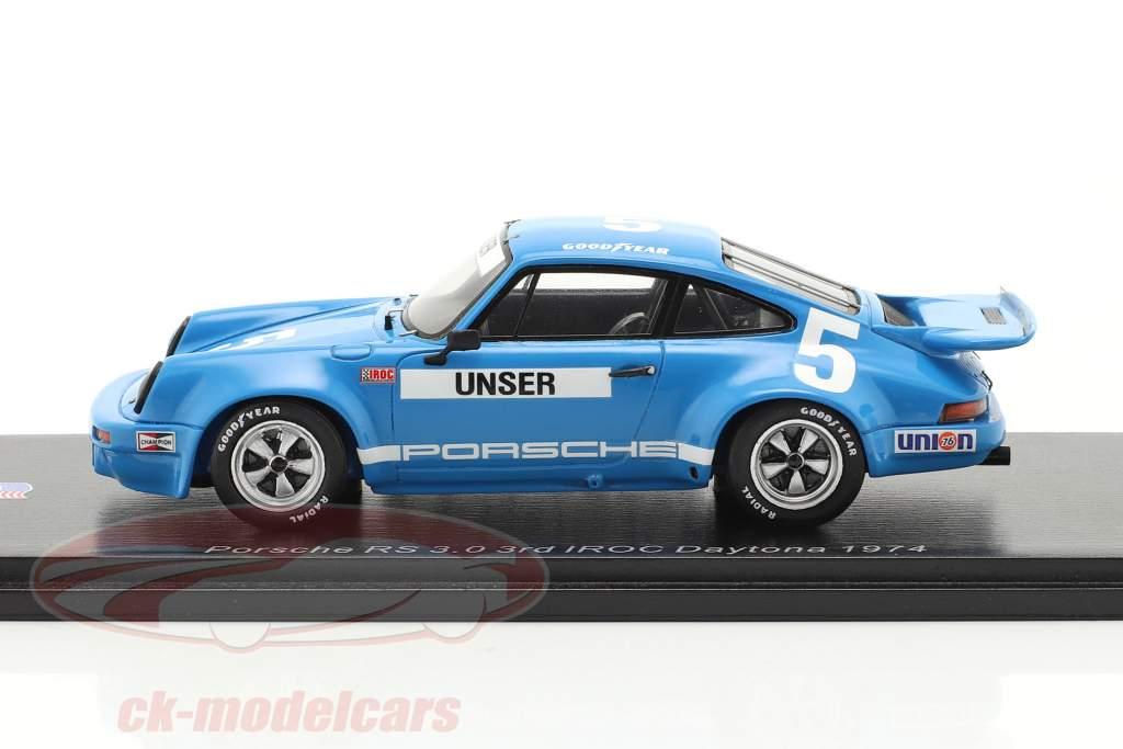 Porsche RS 3.0 #5 3e IROC Daytona 1974 B. Unser 1:43 Spark