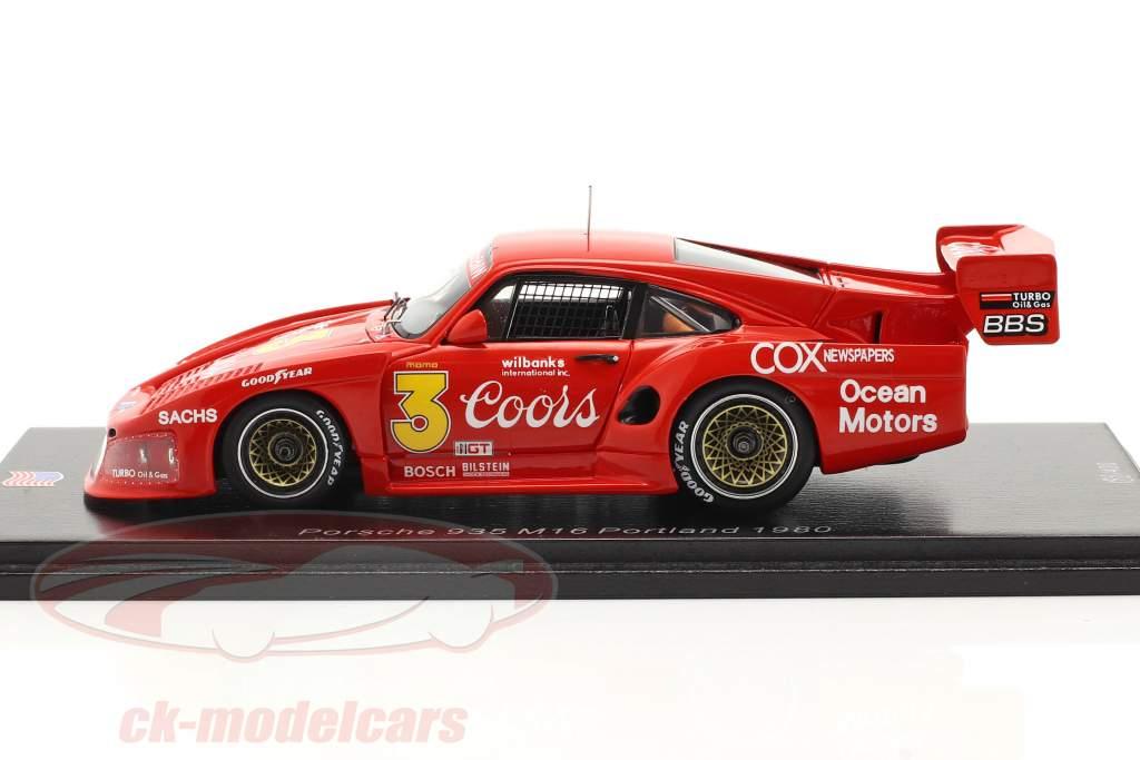 Porsche 935 M16 #3 Portland 100 Millas 1980 Jim Busby 1:43 Spark