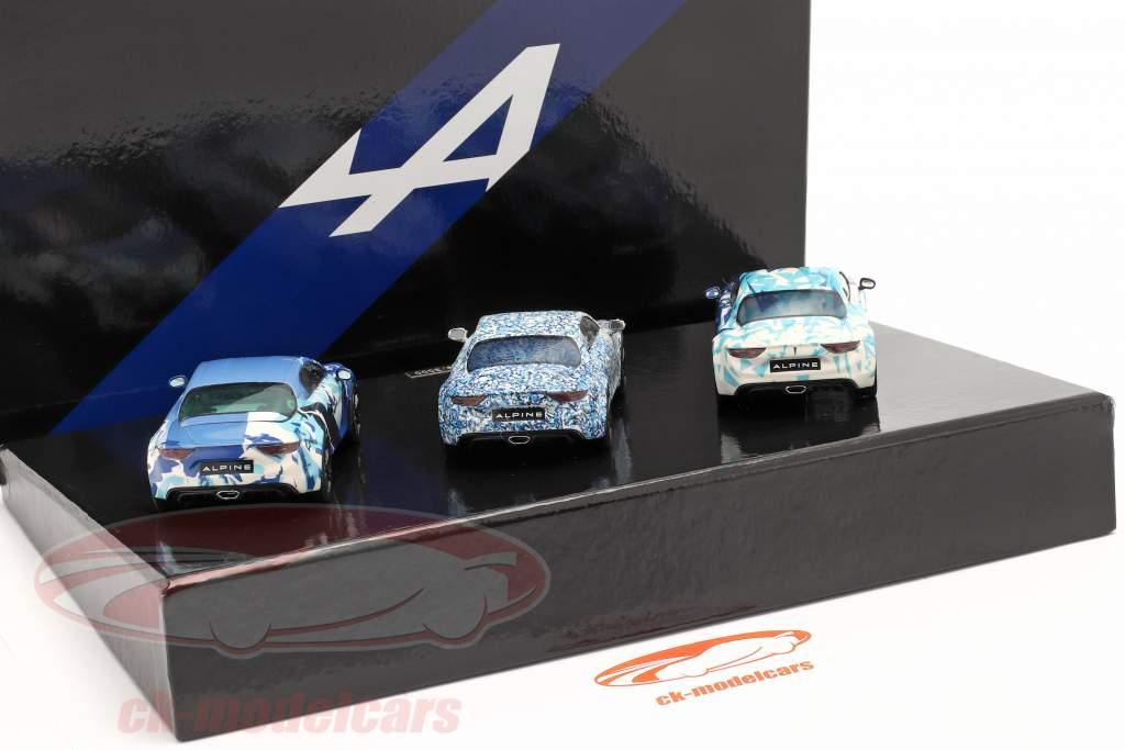 3 voitures ensemble Alpine Coffret A 110 Prototype Année de construction 2017 camouflage 1:43 Norev