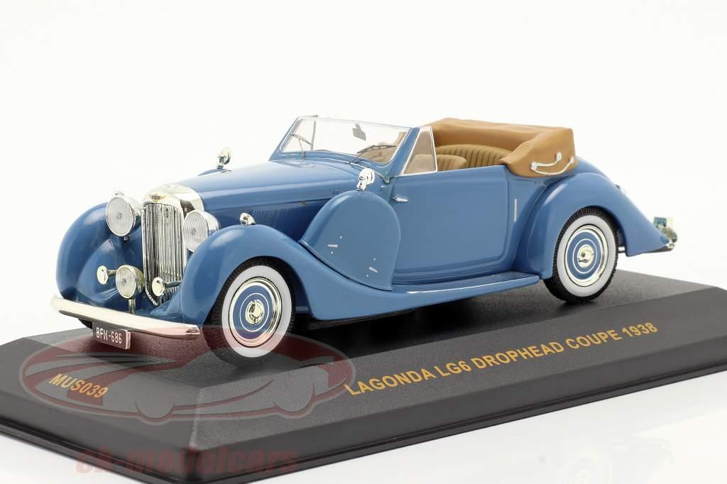 Lagonda Drophead Coupe LG6 Jaar 1938 blauw / blauw 1:43 Ixo