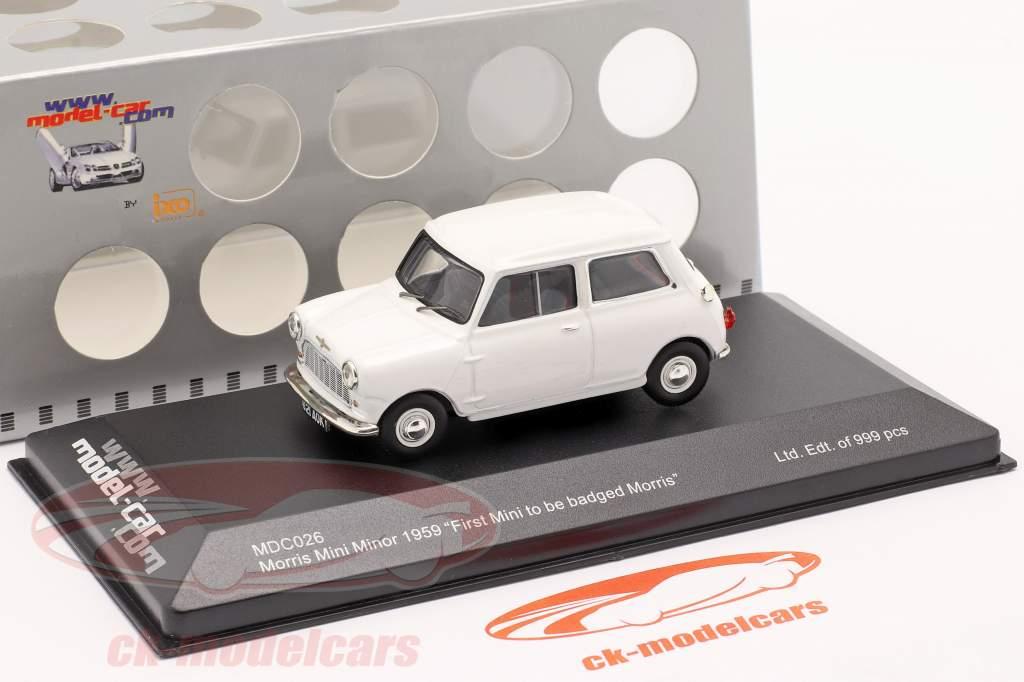 "Morris Mini Minor 1959 blanc ""First Mini to be badged Morris"" 1:43 Ixo"